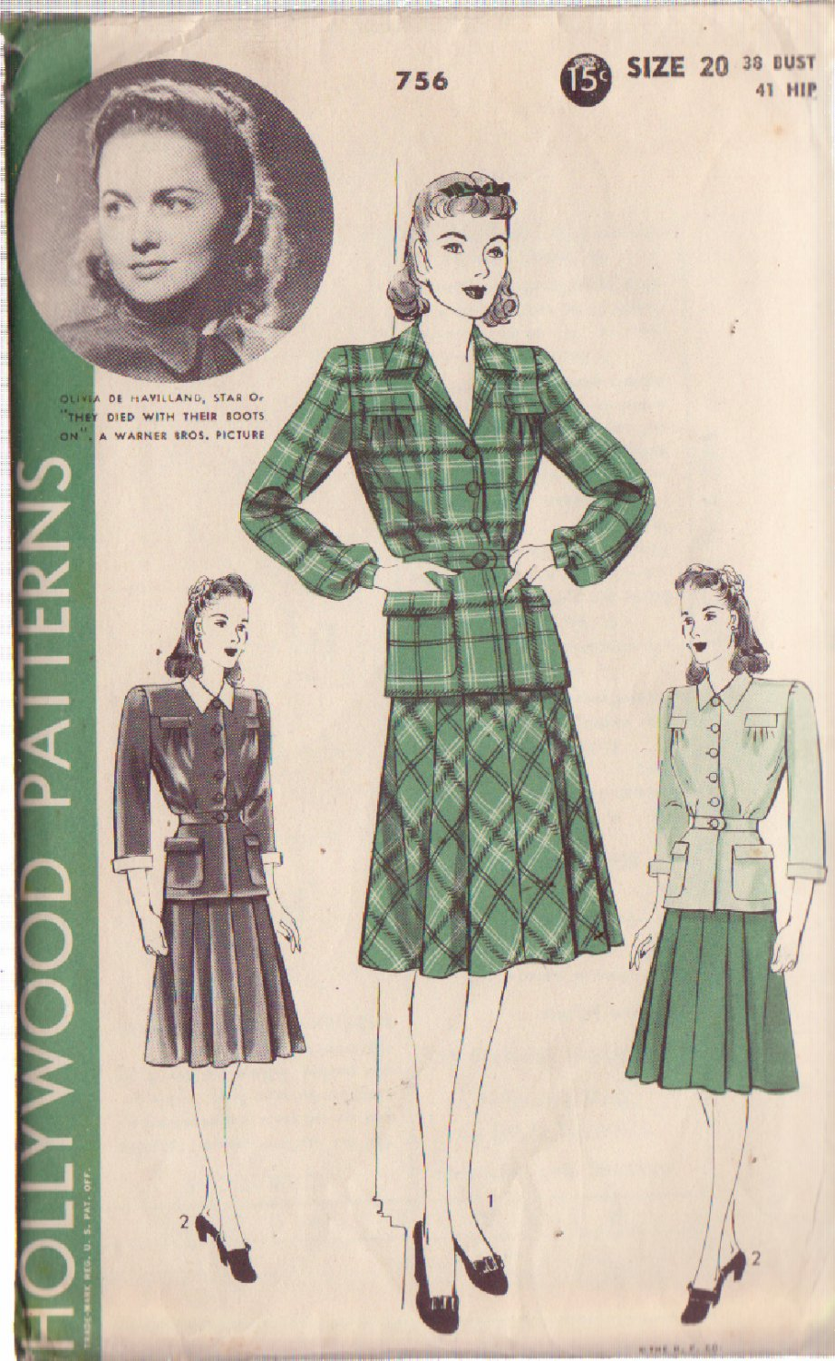 HOLLYWOOD PATTERN 756, 1940'S 2 PC DRESS 2 VERSIONS SZ 20 OLIVIA DE HAVILLAND