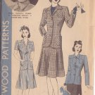 HOLLYWOOD PATTERN 721 MISSES' 2 PIECE SUIT 2 STYLES SIZE 16 BRENDA MARSHALL UNUSED
