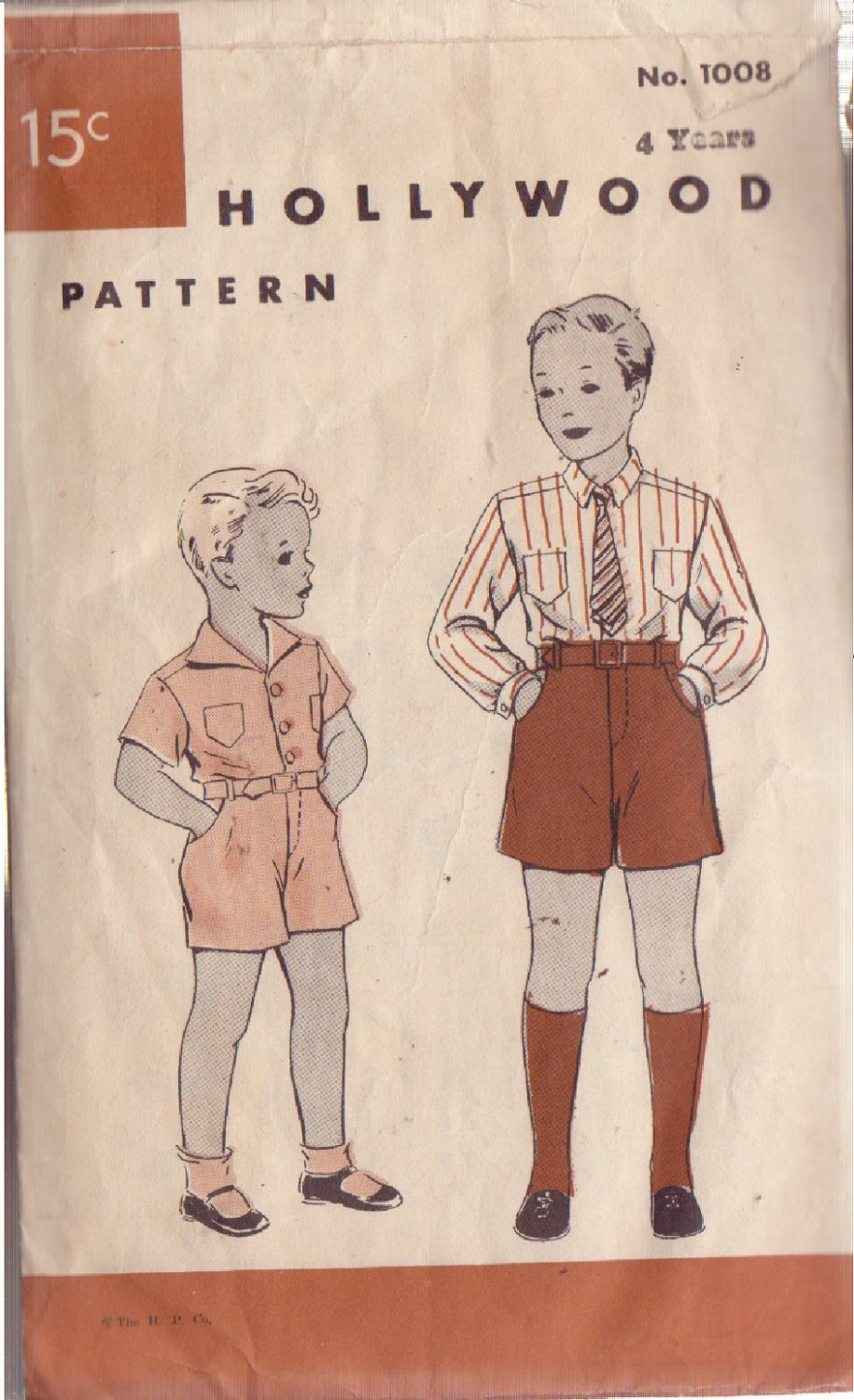 HOLLYWOOD VINTAGE PATTERN 1008 BOY'S SUIT 2 VARIATIONS SIZE 4 YEARS