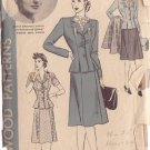 HOLLYWOOD PATTERN 825 MISSES' 2 PIECE SUIT SIZE 12 BRENDA MARSHALL