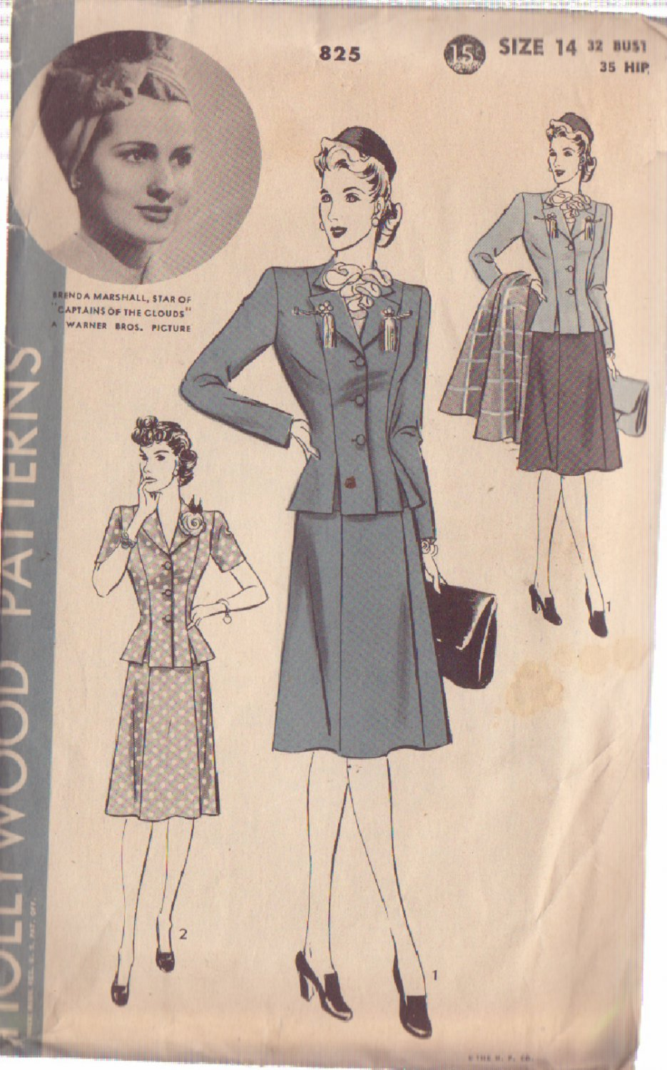 HOLLYWOOD PATTERN 825 MISSES� 2 PIECE SUIT SIZE 14 BRENDA MARSHALL