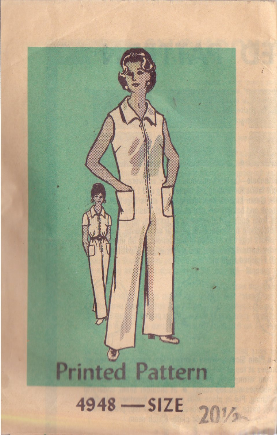 VINTAGE PRINTED PATTERN 4948 MISSES' JUMPSUIT IN 2 VARIATIONS SIZE 20 1/2
