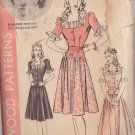 HOLLYWOOD PATTERN 627 MISSES' DRESS IN 2 VARIATIONS SIZE 12 ELEANORE WHITNEY