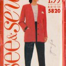 Butterick pattern 5820 misses' jacket and pants sizes 8/10/12