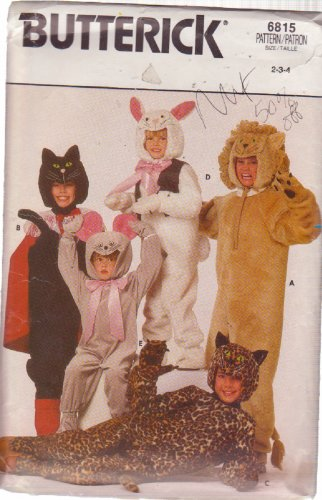 Butterick pattern 6815 Child�s Cat, Leopard, Lion, bunny, mouse costumes 8-12