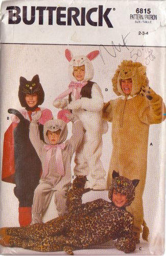 Butterick pattern 6815 Child�s Cat, Leopard, Lion, bunny, mouse costumes 2/3/4