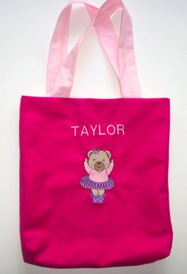 PERSONALIZED tote book bag TEDDY BEAR BALLERINA
