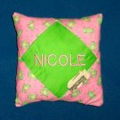 PERSONALIZED tooth fairy pillow PINK AND GREEN FROGS