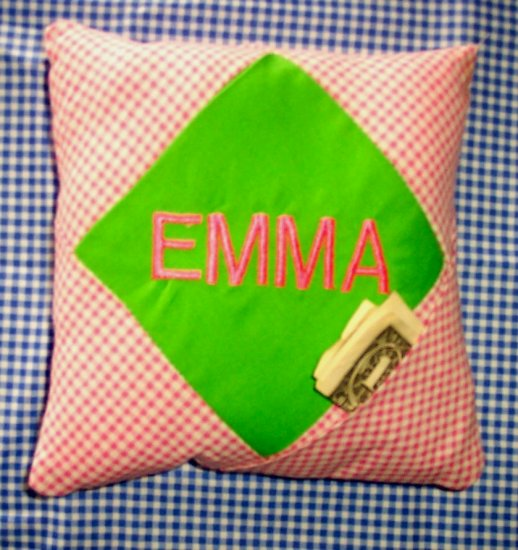 PERSONALIZED tooth fairy pillow GINGHAM FOR A BOY OR GIRL