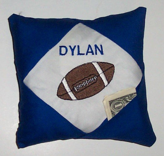 PERSONALIZED tooth fairy pillow for a FOOTBALL FAN