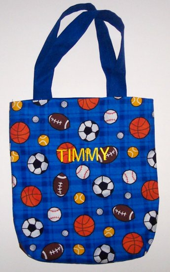 PERSONALIZED tote book bag SPORTS DESIGN