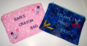 PERSONALIZED School Supplies Pencile Case or Crayon Bag