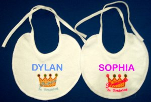PERSONALIZED Embroidered Baby Bib for a Prince or Princess