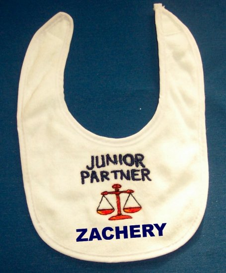 PERSONALIZED EMBROIDERED BIB for the BABY of a LAWYER ATTORNEY!