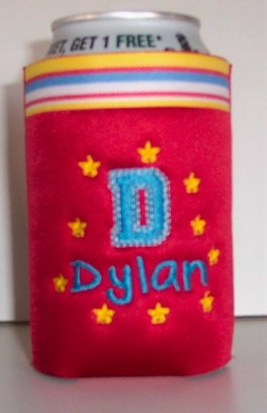 Personalized Embroidered Koozie Beverage Can Holder - Red