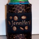 Personalized Embroidered Koozie Can Cover - Leopard Design!