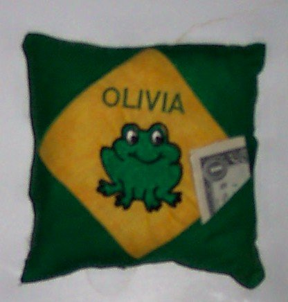 PERSONALIZED tooth fairy pillow FROG
