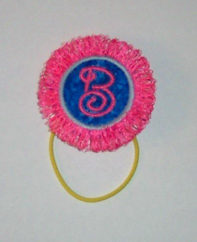 FRINGE Pony Tail Holder - Adorable pink with blue