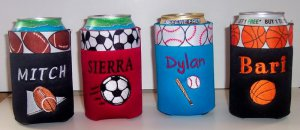 PERSONALIZED Koozie Can Cover SPORTS DESIGNS!!