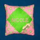 PERSONALIZED tooth fairy pillow PINK WITH GREEN FROGS!!