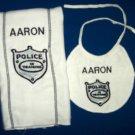 PERSONALIZED embroidered BIB and BURP CLOTH - POLICE!!!
