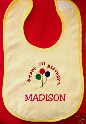 PERSONALIZED EMBROIDERED HAPPY BIRTHDAY BIB - any age!