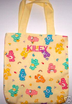 PERSONALIZED TOTE BOOK BAG - CARE BEARS!!