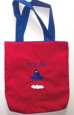 PERSONALIZED  Tote Book Bag - ROCKET SHIP!!