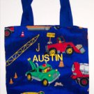 PERSONALIZED tote bag for boys - CONSTRUCTION TRUCKS!
