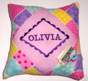 PERSONALIZED GIRLS TOOTH FAIRY PILLOW BOUTIQUE PINK