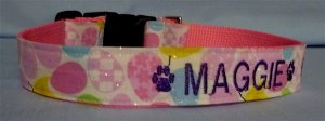 PERSONALIZED  sparkly DOG COLLAR for EASTER - with  NAME/PHONE!