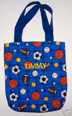 PERSONALIZED Tote School Book Bag - SPORTS!