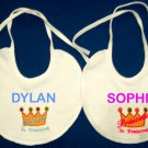 PERSONALIZED EMBROIDERED BIB for a PRINCE or PRINCESS!