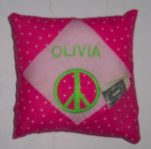 PERSONALIZED Tooth Fairy Pillow - Applique PEACE sign!!