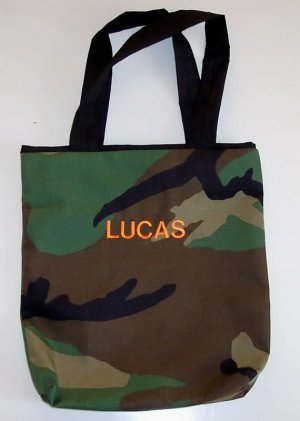 PERSONALIZED Camouflage Tote Book Bag!!