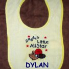 PERSONALIZED Daddy's Little AllStar SPORTS BABY BIB!