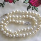 "17"" Genuine Freshwater White Pearl Choker, 7-8 mm - JC"