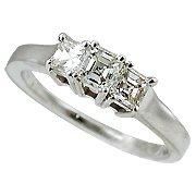 18K White Gold Diamond Three Stone Ring - You Save $7,307.58