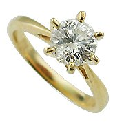 18K Yellow Gold Solitaire Ring - You Save $2,766.62