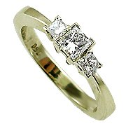 18K Yellow Gold Three Stone Ring - You Save $1,157.07