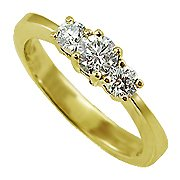 18K Yellow Gold Three Stone Ring - You Save $1,451.33