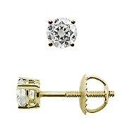 18K Yellow Gold Diamond Basket Style Stud Earrings - You Save $588.83