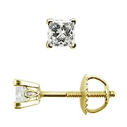 18K Yellow Gold Scrollwork Style Stud Earrings - You Save $455.41