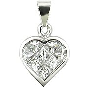 18K White Gold Diamond Heart Pendant - You Save $1,155.56