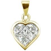 18K Yellow Gold Diamond Heart Pendant - You Save $1,257.98