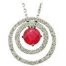 14K White Gold Ruby/Diamond Drop Pendant - You Save $2,413.35