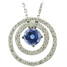 14K White Gold Sapphire/Diamond Drop Pendant - You Save $2,512.61