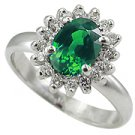 14K White Gold Emerald/Diamond Multi Stone Ring - You Save $1,049.42
