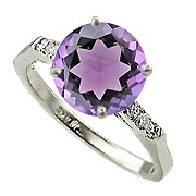 14K White Gold Amethyst/Diamond Multi Stone Ring - You Save $897.75