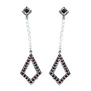 18K White Gold Ruby Drop Earrings - You Save $1,721.71